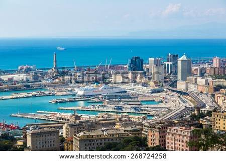 Panoramic view port of Genoa in a summer day, Italy - stock photo