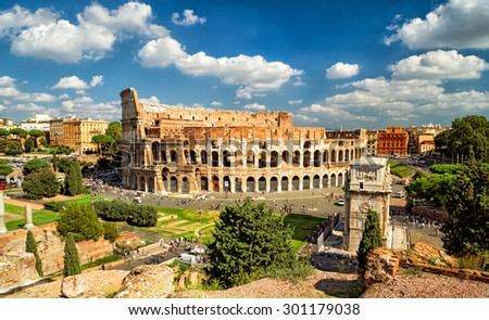 Panoramic view the Colosseum (Coliseum) in Rome, Italy - stock photo