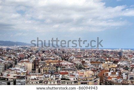 Panoramic view to Barcleona from the towers of Sagrada Familia cathedral
