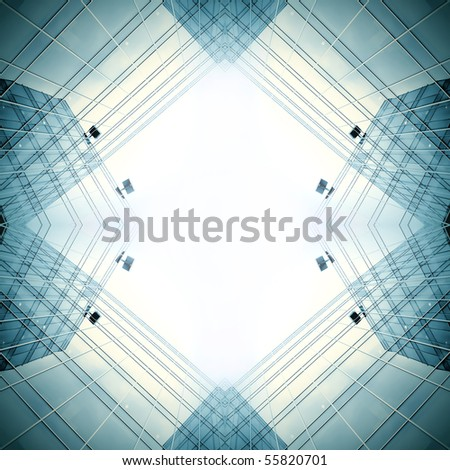 panoramic view to blue glass commercial construction - stock photo