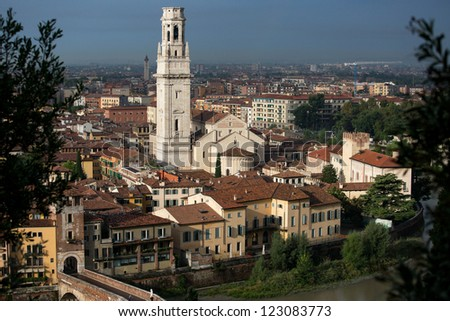 Panoramic view to Duomo tower and the old city Verona, Italy