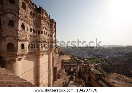 Panoramic view to Jodhpur (blue city) from Mehrangarh Fort - stock photo