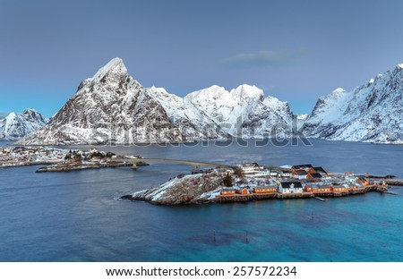 Panoramic view to Reinefjorden with mountains on background - Reine, Lofoten Islands, Norway - stock photo