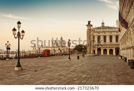 Panoramic view to San Marco square in Venice, Italy early in the morning  - stock photo
