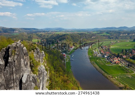 Panoramic view to Saxon Switzerland from Bastei, near Dresden, Germany. - stock photo