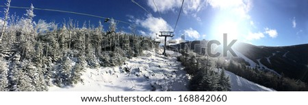 Panoramic view to ski slopes at Cannon mountain in NH - stock photo