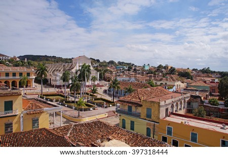 Panoramic view to the center of Trinidad in Cuba