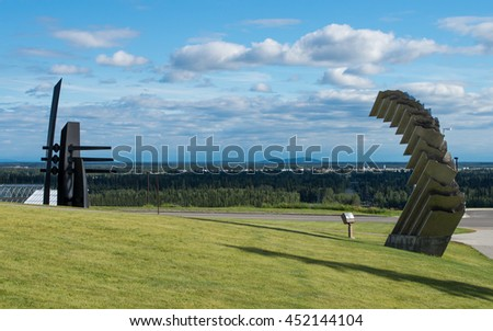 Panoramic view to the city Fairbnaks in Alaska from view point near Museum of the North in University campus - stock photo