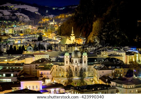 Panoramic view to the north of the historic city of Salzburg at  - stock photo