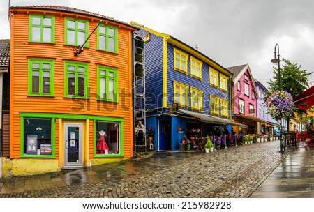 Panoramic view to the street with bright colored wooden houses in the center of Stavanger city, Norway - architecture background - stock photo