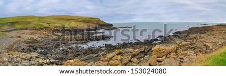 Panoramic view with Northern Ireland coastline and sea. - stock photo