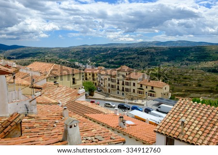 Panoramic view with the town on the foreground, Morella, the province of Castellon, Spain. - stock photo