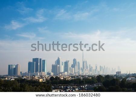 panoramic views of Dubai - stock photo