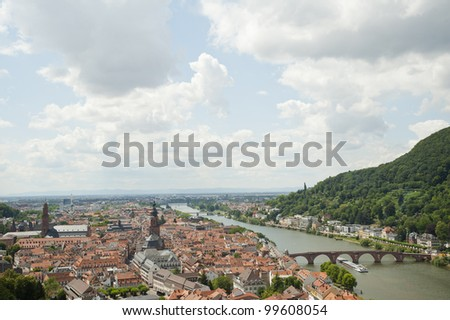 panoramic views of heidelberg cityscape in Germany,europe. - stock photo