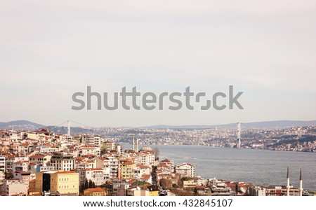 Panoramic views of Istanbul and the strait of the Golden Horn, Turkey