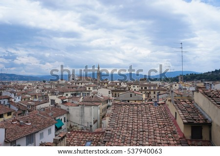 Panoramic views of the downtown of Florence, Italy.