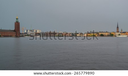 Panoramic views of the harbour of Stockholm - stock photo