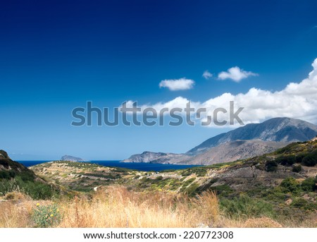 panoramic views of the mountainous part of the island of Crete. Greece  - stock photo