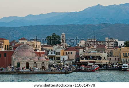 Panoramic views of the waterfront city of Chania. Crete. - stock photo