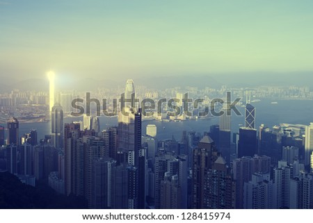 Panoramic views of Victoria Harbour, Hong Kong - stock photo