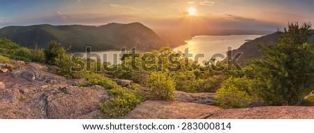 Panoramic vista over the Hudson river at sunset - stock photo