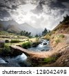 panoramic viwe of a peruvian andean valley - stock photo