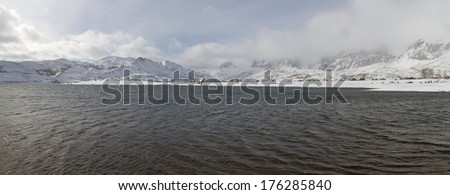 Panoramic Water swamp surrounded by snowy mountains and sunny