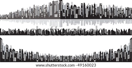 Panoramic wide cityscape for your design
