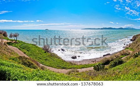 panoramic wide view of sea and coastline in Piombino, Tuscany - Italy