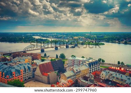 Panoramic wiev of Riga city with cloudy sky, Latvia, Europe - stock photo