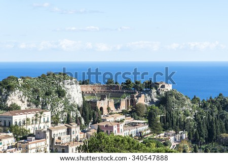 Panoramicl view of the Taormina city. The ancient greek amphitheater. Sicily, Italy. - stock photo