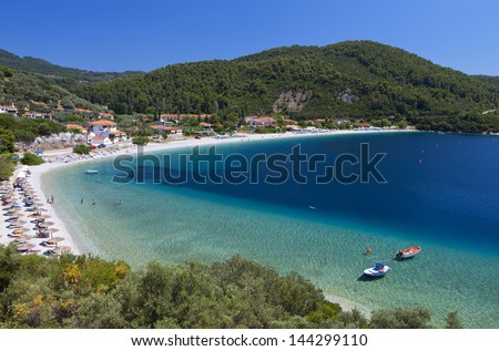 Panormos beach at Skopelos island in Greece - stock photo