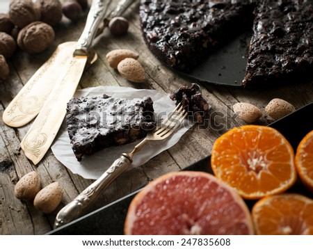 panpepato typical tuscan dessert with citrus fruit - stock photo