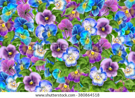 Pansy, Viola tricolor flower, Spring wallpaper, poster, floral background. Digital illustration with colorful flowers. - stock photo