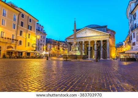 Pantheon at night, Rome, Italy - stock photo