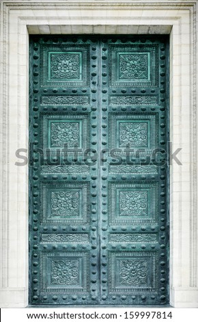 Pantheon door in Paris - stock photo