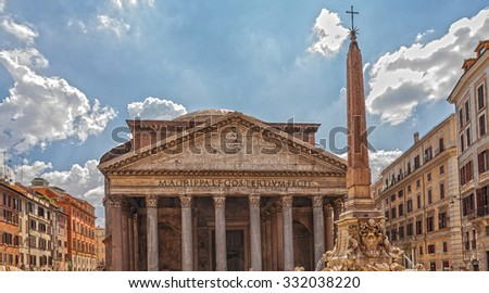 "Pantheon - ""Temple of the Gods"" in Rome, the monument-centric architecture dome heyday of Ancient Roman architecture, built in the year 126 BC. e.  - stock photo"