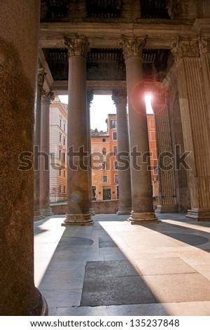 Pantheon with sun rays - stock photo