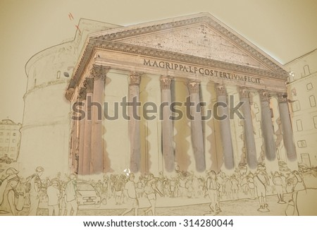 Pantheon with unidentified people in Rome. One of best-preserved of all Ancient Roman buildings. Travel background illustration. Painting with watercolor and pencil. Brushed artwork.