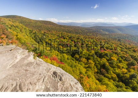 Panther Mountain and Woodland Valley seen from Giant Ledge in the Catskills Mountains of  upstate New York - stock photo