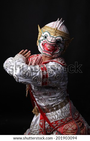 pantomime on a black background - stock photo
