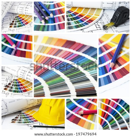 pantone and cmyk color in a collage - stock photo