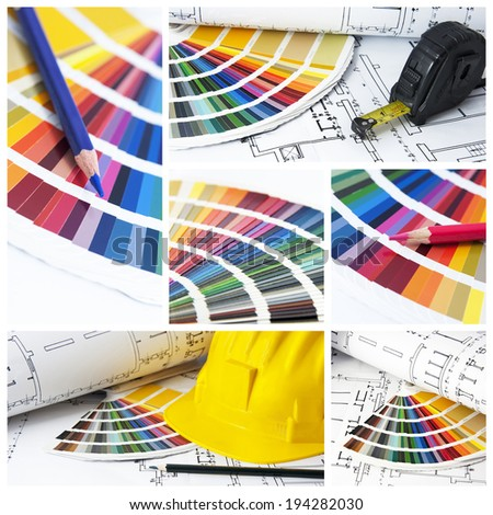 pantone and cmyk color in collage - stock photo