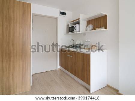 Pantry with utensil in modern apartment - stock photo