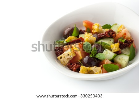 Panzanella salad on the white plate horizontal