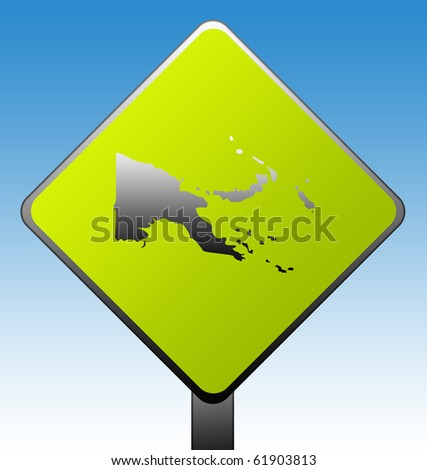 Papa New Guinea green diamond shaped road sign with gradient blue sky background.