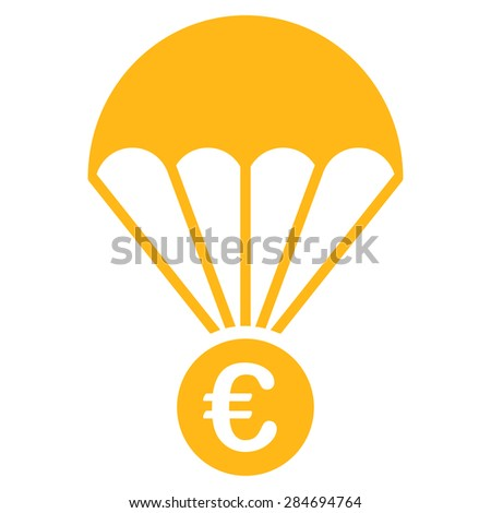 Papachute from BiColor Euro Banking Icon Set. Glyph style: flat, yellow symbol, rounded angles, white background. - stock photo