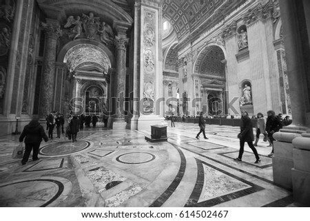 Papal Basilica of Saint Peter in the Vatican Interior on February 5, 2017 in Rome Italy