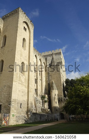 Papal Palace in Avignon, France - stock photo