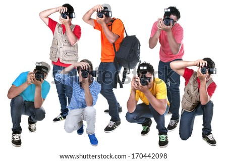 paparazzi waiting for the right moment to take photos - stock photo